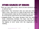 other sources of errors
