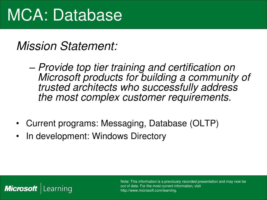 MCA: Database
