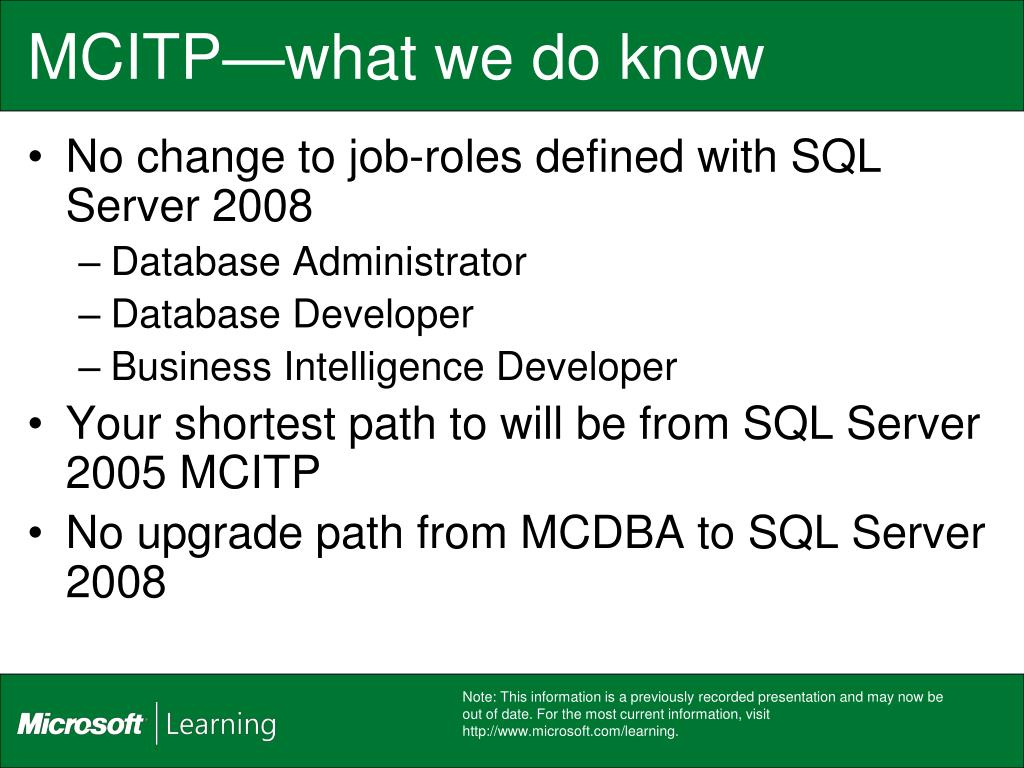 MCITP—what we do know