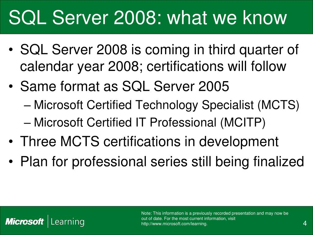 SQL Server 2008: what we know