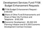 development services fund fy08 budget enhancement requests