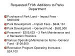 requested fy08 additions to parks department