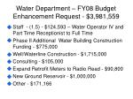 water department fy08 budget enhancement request 3 981 559