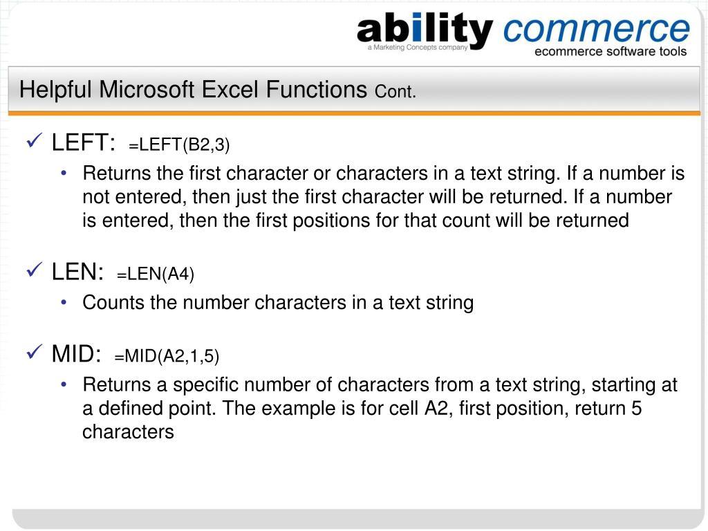 Helpful Microsoft Excel Functions