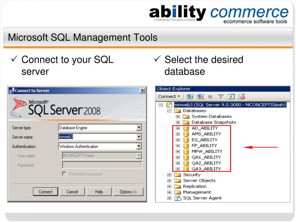 Microsoft SQL Management Tools