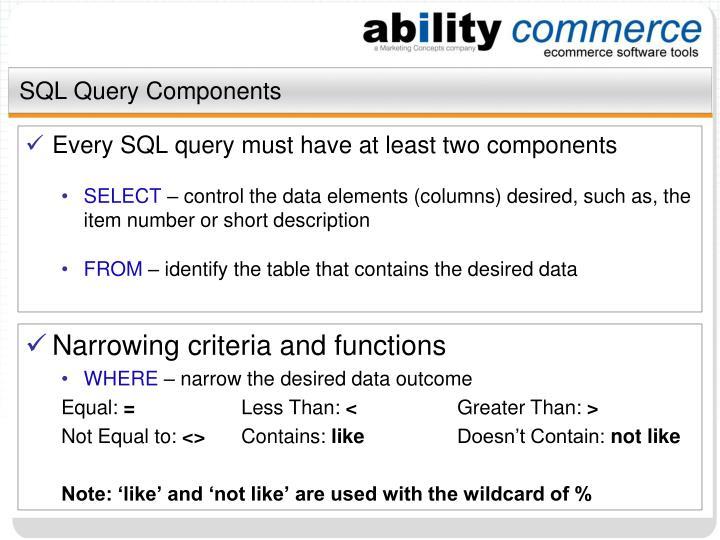 Sql query components