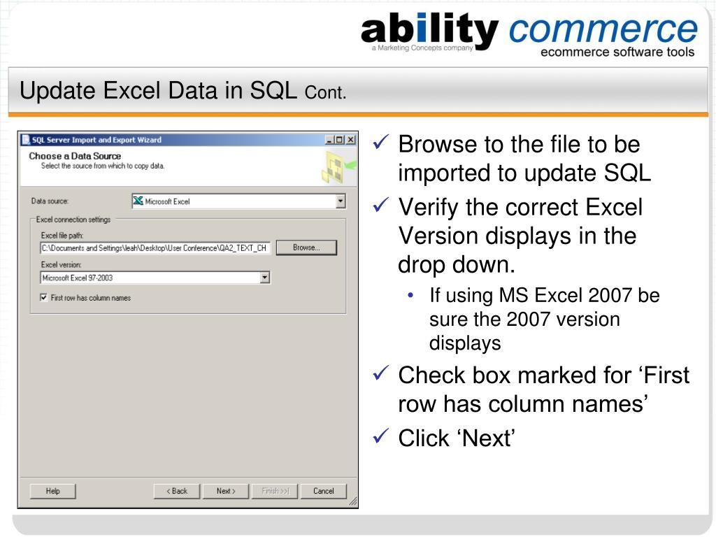Update Excel Data in SQL
