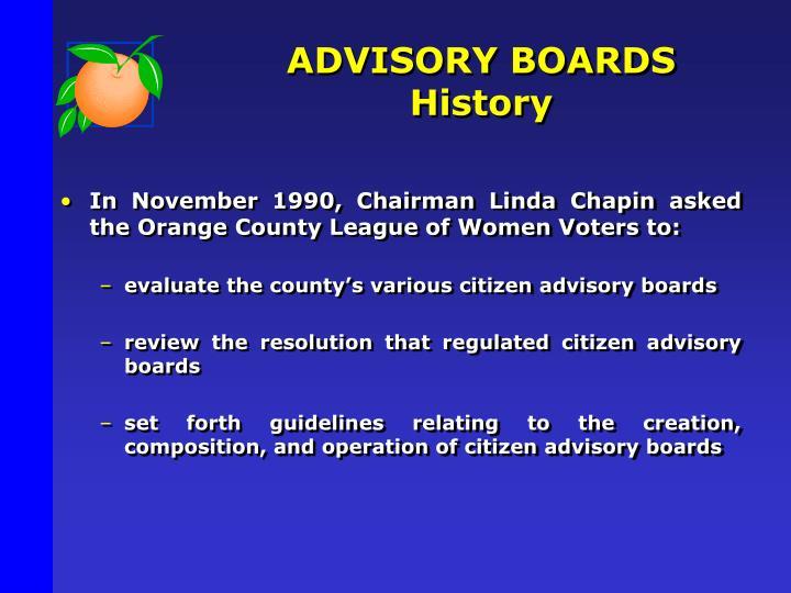 Advisory boards history