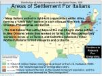 areas of settlement for italians
