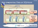 app on premise data on sqlazure