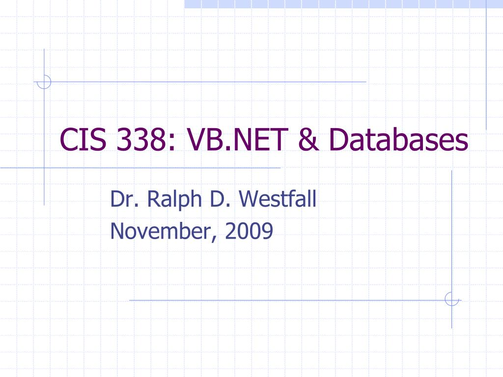 cis 338 vb net databases l.