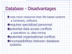 database disadvantages