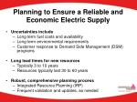 planning to ensure a reliable and economic electric supply
