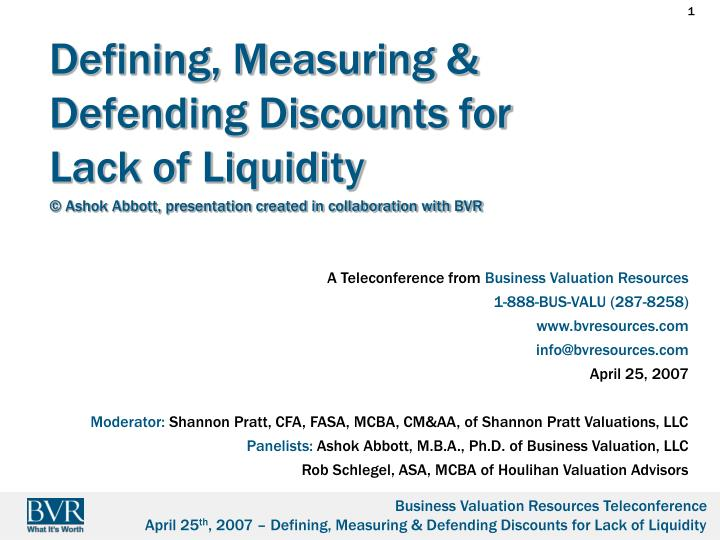 defining measuring defending discounts for lack of liquidity n.