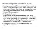 determining what the errors mean