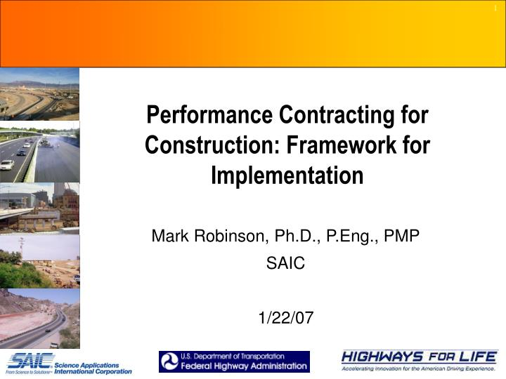 performance contracting for construction framework for implementation n.