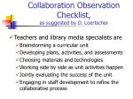 collaboration observation checklist as suggested by d loertscher