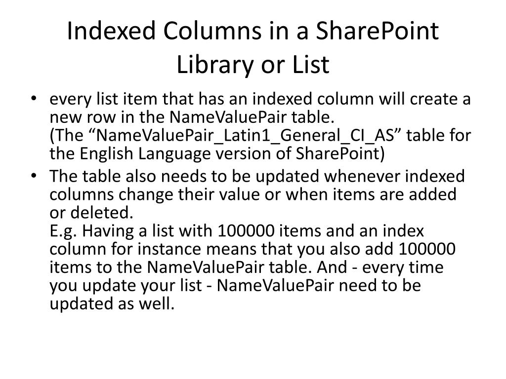 Indexed Columns in a SharePoint Library or List
