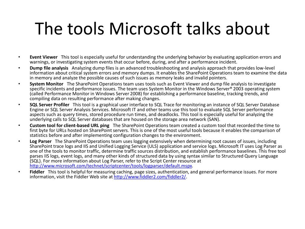 The tools Microsoft talks about