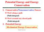 potential energy and energy conservation