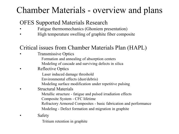 chamber materials overview and plans n.