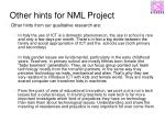 other hints for nml project