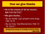 how we give thanks