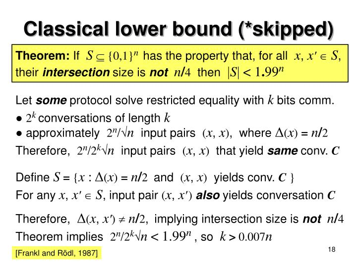 Classical lower bound (*skipped)