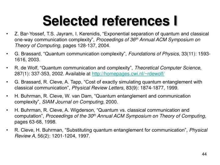 Selected references I