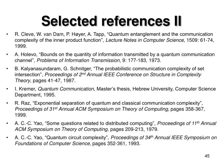 Selected references II