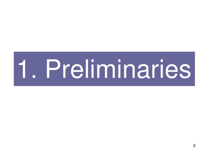 1. Preliminaries
