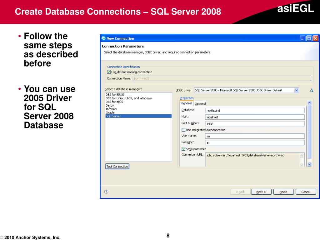 Create Database Connections – SQL Server 2008
