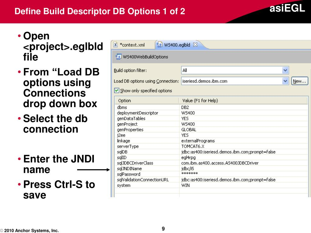 Define Build Descriptor DB Options 1 of 2