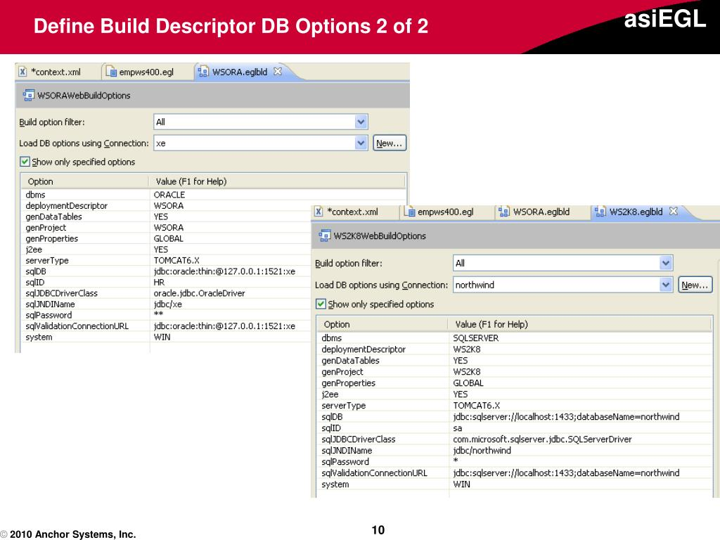 Define Build Descriptor DB Options 2 of 2
