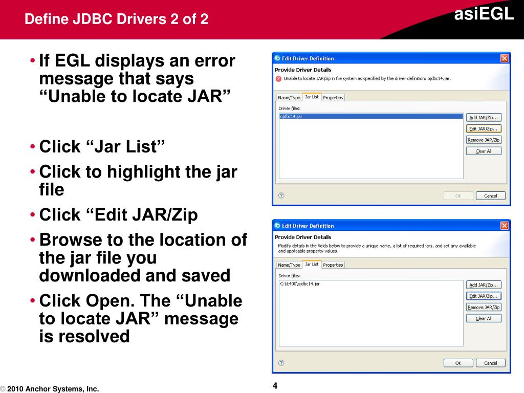 Define JDBC Drivers 2 of 2