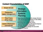 context characteristics of sisp