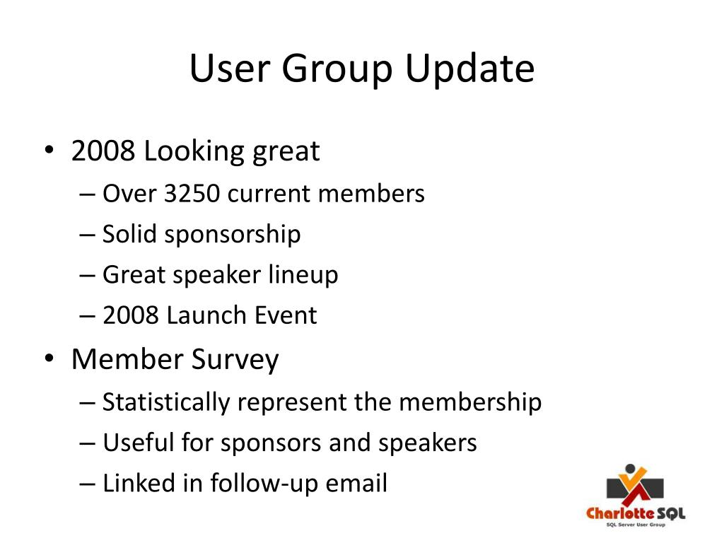 User Group Update