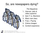 so are newspapers dying
