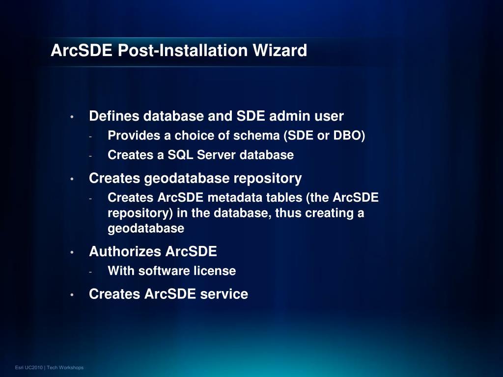 ArcSDE Post-Installation Wizard