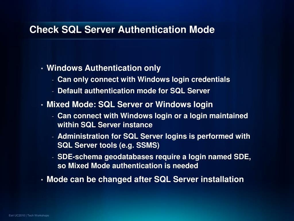 Check SQL Server Authentication Mode