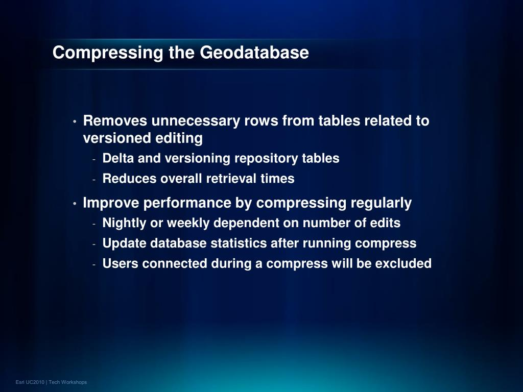 Compressing the Geodatabase