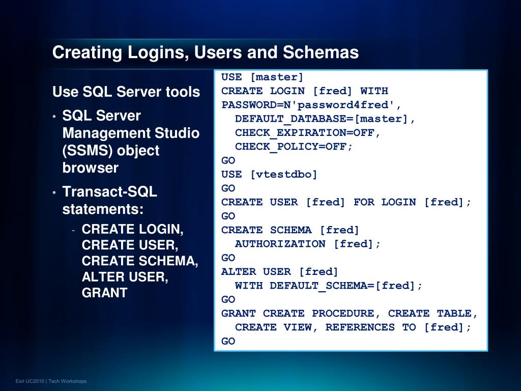 Creating Logins, Users and Schemas