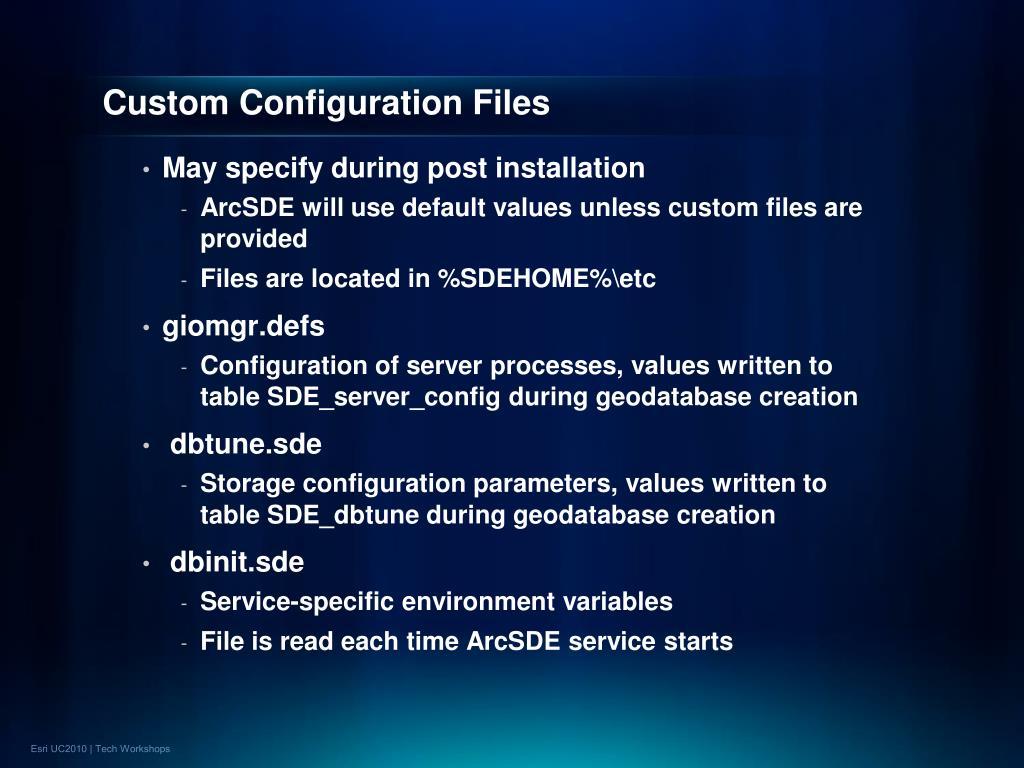 Custom Configuration Files