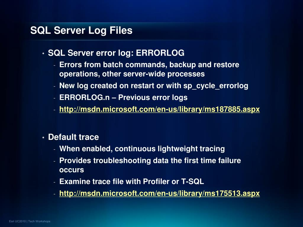 SQL Server Log Files