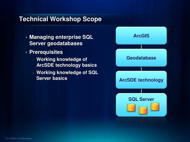 Technical workshop scope