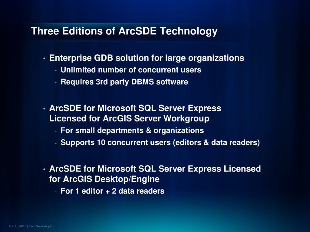 Three Editions of ArcSDE Technology