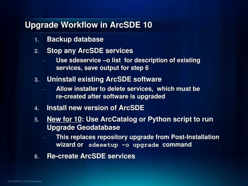 Upgrade Workflow in ArcSDE 10