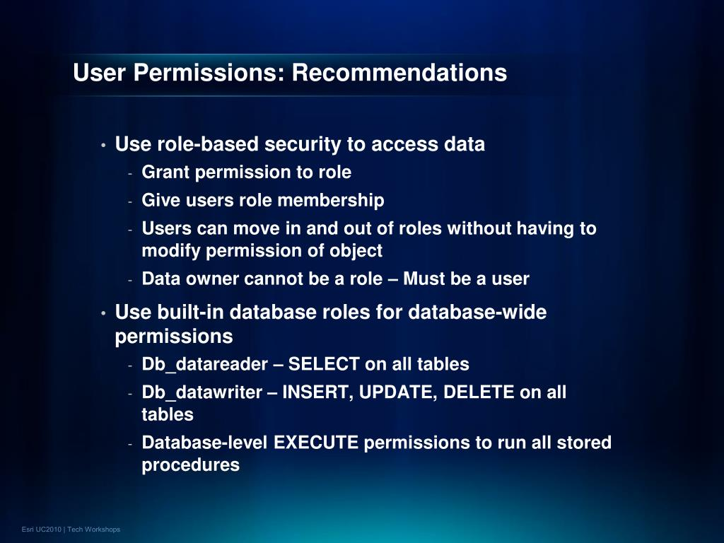 User Permissions: Recommendations