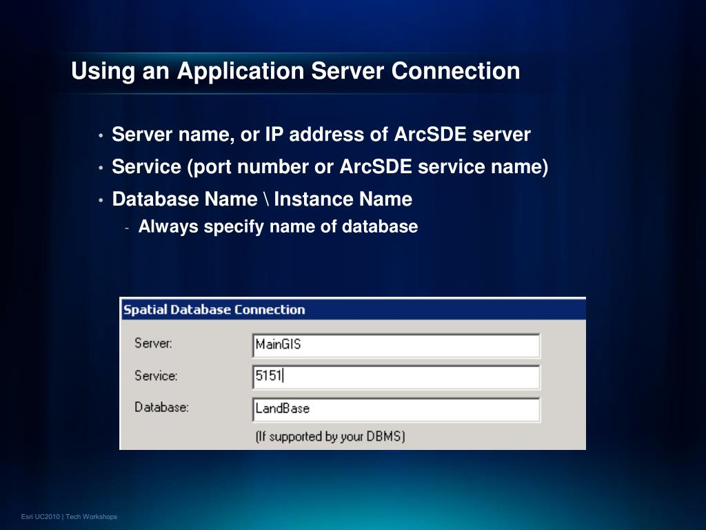 Using an Application Server Connection