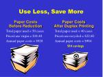 use less save more